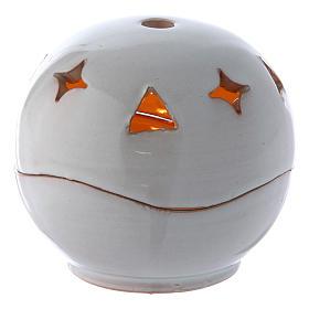 Lâmpadas e Lamparinas: Porta-vela branca cerâmica esfera