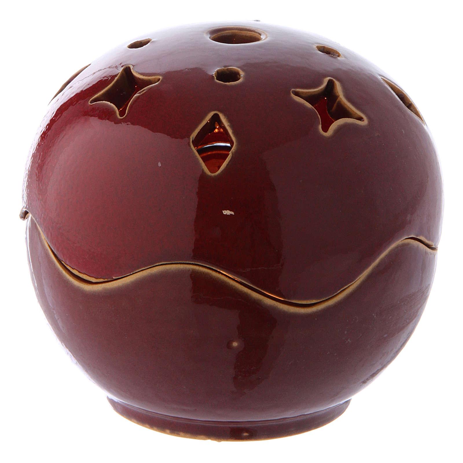 Lampe rouge céramique sphère 3