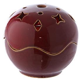 Lâmpadas e Lamparinas: Porta-vela vermelha cerâmica esfera