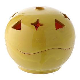 Lâmpadas e Lamparinas: Porta-vela amarela cerâmica esfera