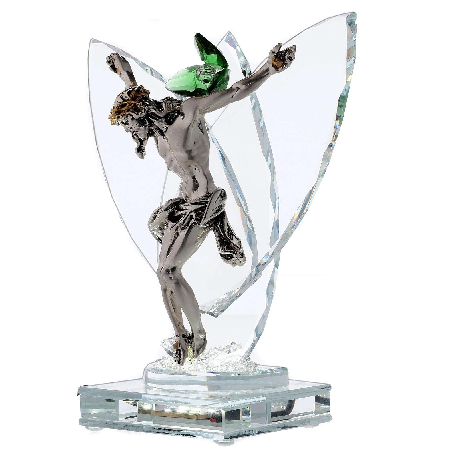 Lampe crucifix fleur cristal vert 3