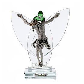 Lampe crucifix fleur cristal vert s1