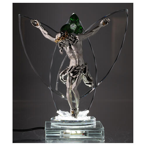 Lampe crucifix fleur cristal vert 2