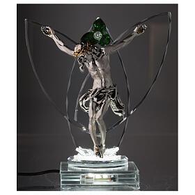 Lampada Crocefisso fiore cristallo verde s2