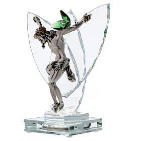 Lampada Crocefisso fiore cristallo verde s3