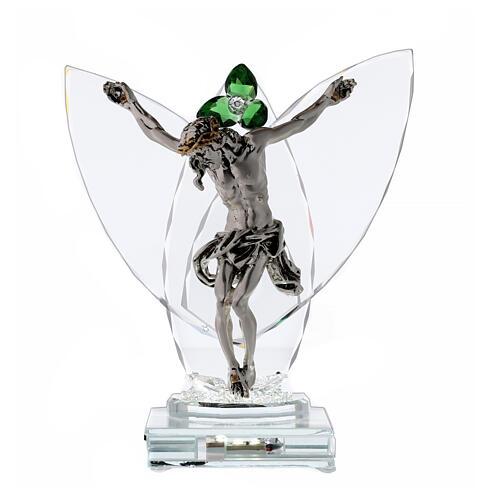 Lampada Crocefisso fiore cristallo verde 1