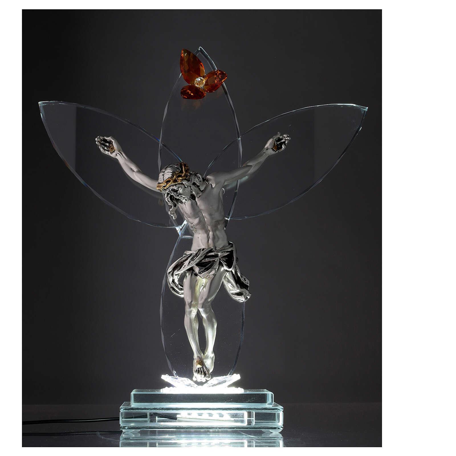 Elektrische Altarlampe aus Kristallglas mit Gekreuzigtem und bernsteinfarbener Blüte 3