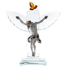Elektrische Altarlampe aus Kristallglas mit Gekreuzigtem und bernsteinfarbener Blüte s1