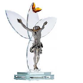 Elektrische Altarlampe aus Kristallglas mit Gekreuzigtem und bernsteinfarbener Blüte s4