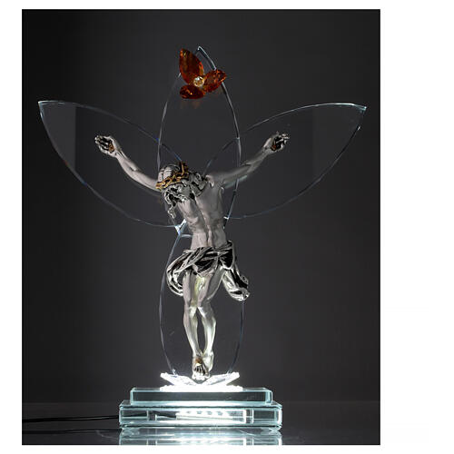 Elektrische Altarlampe aus Kristallglas mit Gekreuzigtem und bernsteinfarbener Blüte 2