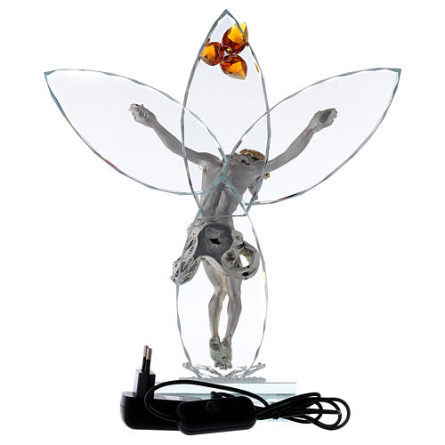 Elektrische Altarlampe aus Kristallglas mit Gekreuzigtem und bernsteinfarbener Blüte 5
