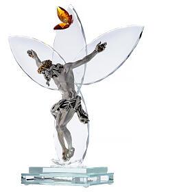 Lámpara vidrio Crucifijo y flor ámbar s3