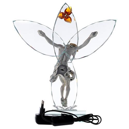 Lampe verre Crucifix et fleur ambre 5