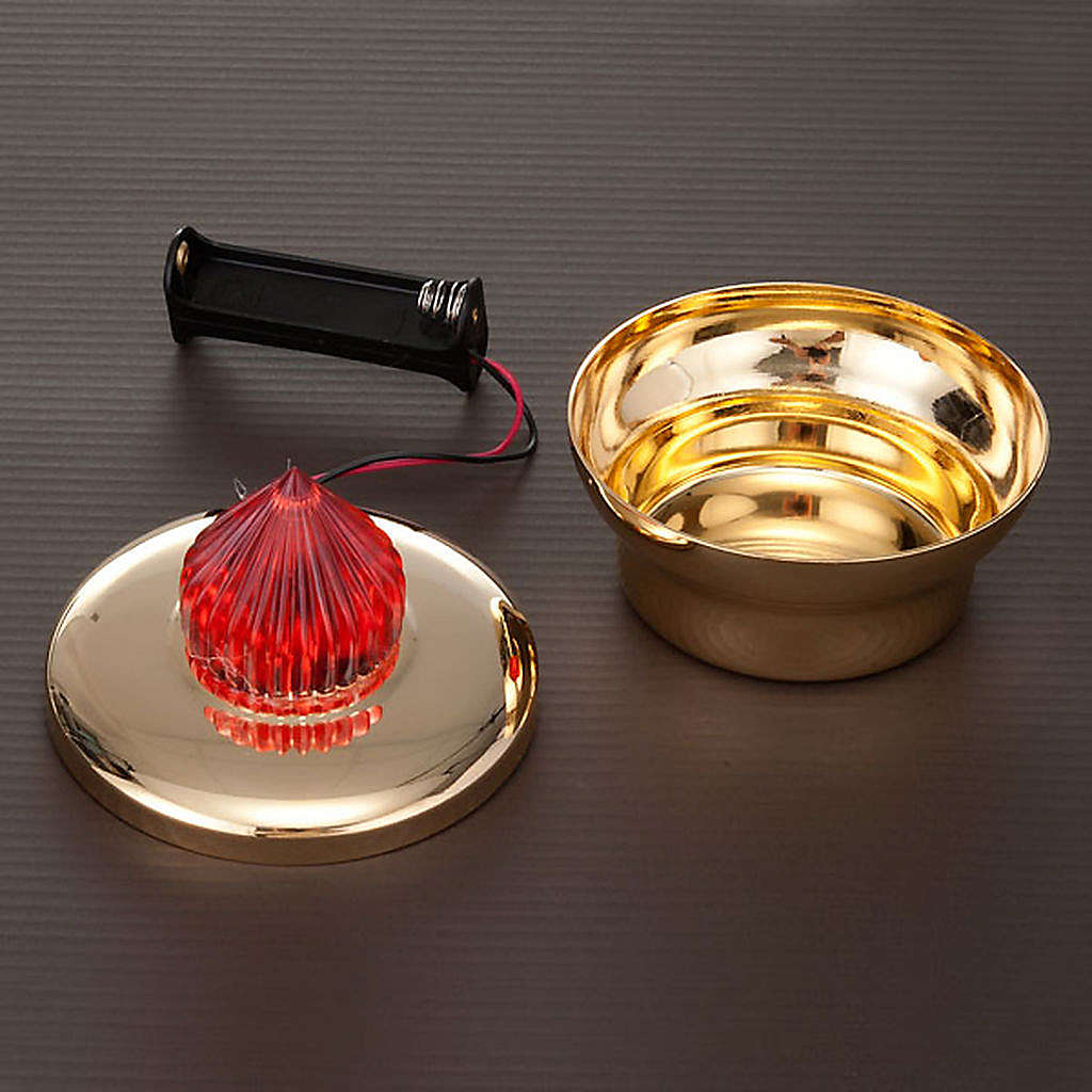 Lamparina Santíssimo latão dourado com pilhas 3