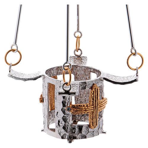 Lampe de sanctuaire bronze à suspendre h. 75 cm 2