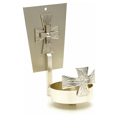 Blessed Sacrament wall lamp in brass with cross 2