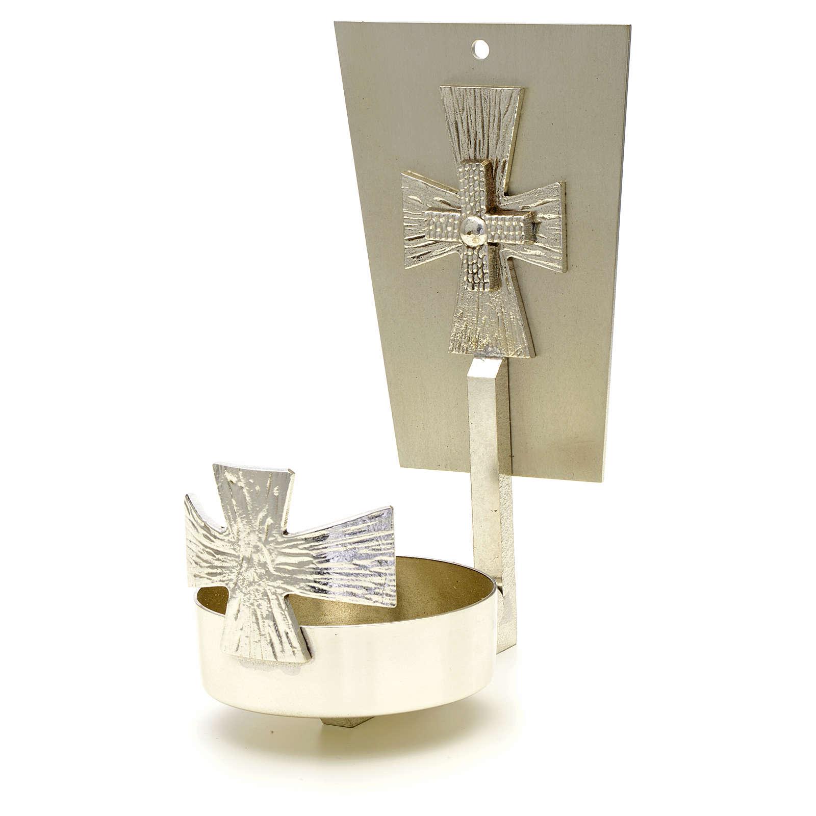 Lampada per Santissimo da muro ottone croce 3