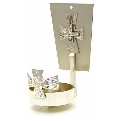 Blessed Sacrament wall lamp in brass with cross 1