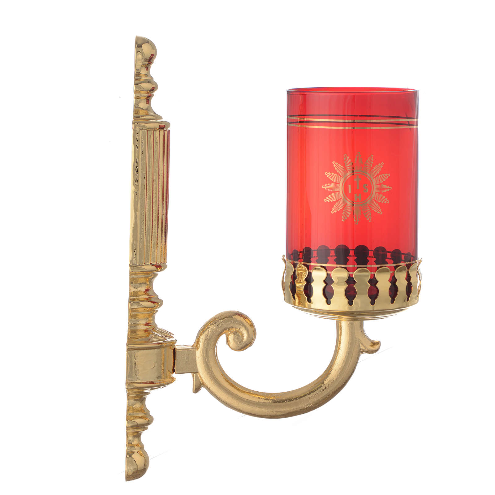 Lampka ścienna mosiądz rowkowany do czerwonego szkła 3