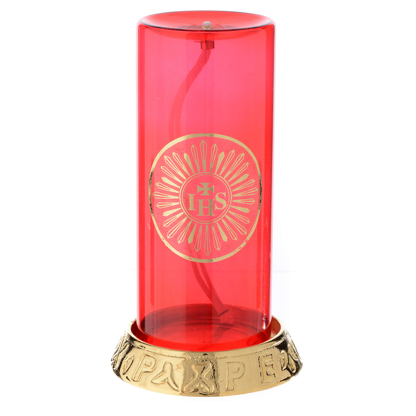 Liquid wax lamp for the Blessed Sacrament with cast brass base 3