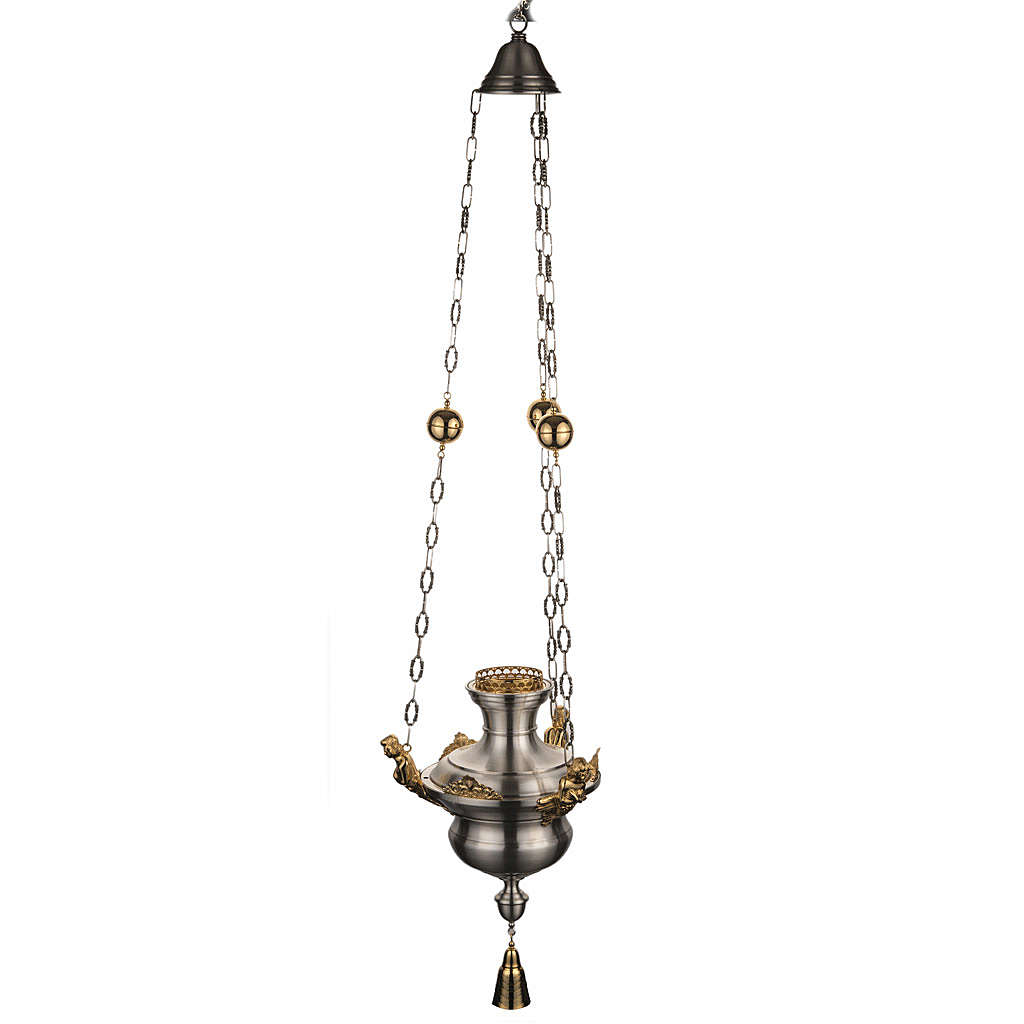 Lampe Sanctuaire avec anges laiton satiné 3