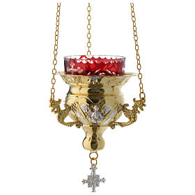 Lampada per Santissimo Ortodossa dorata cm 12X11.5 s1