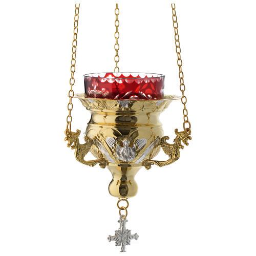 Lampada per Santissimo Ortodossa dorata cm 12X11.5 1