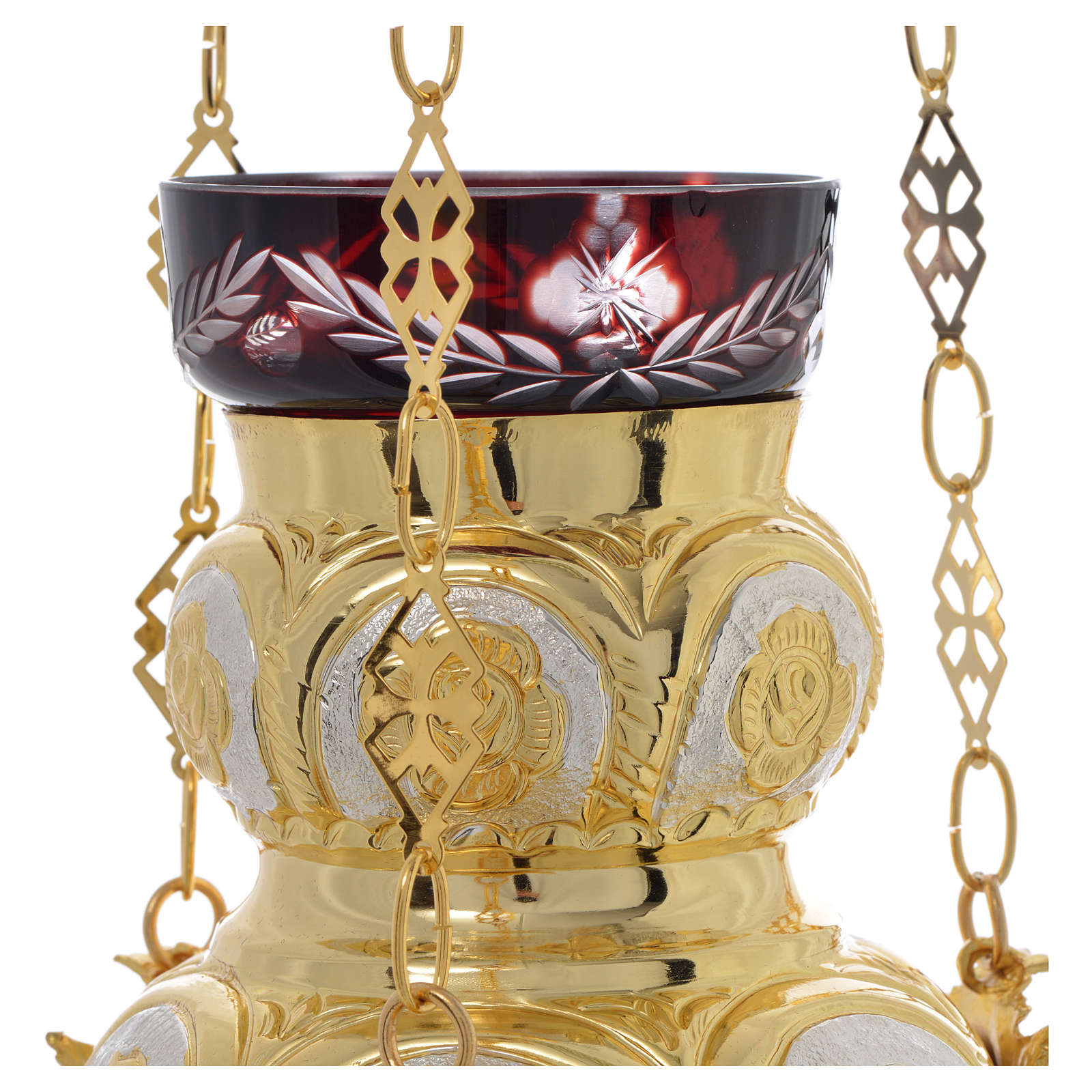 Lampe Très-Saint-Sacrement orthodoxe dorée 14x12 cm 3