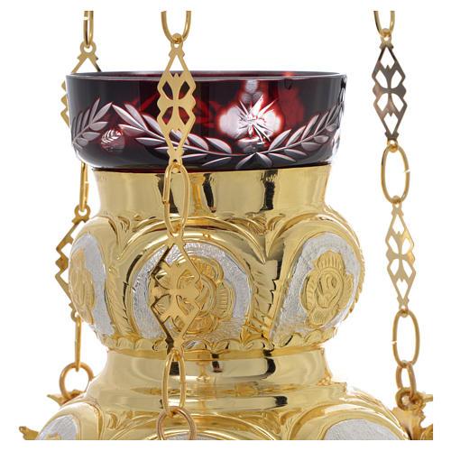 Lampe Très-Saint-Sacrement orthodoxe dorée 14x12 cm 2