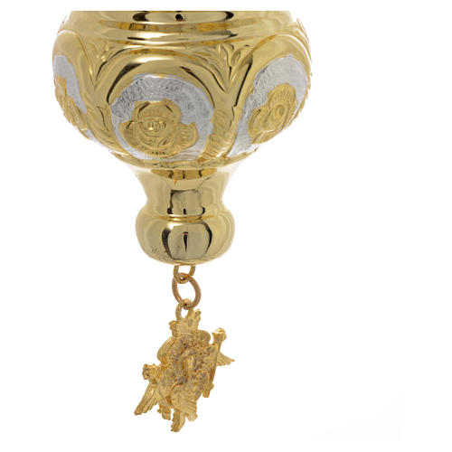 Lampada Santissimo Ortodossa ottone dorato cm 14x12 4