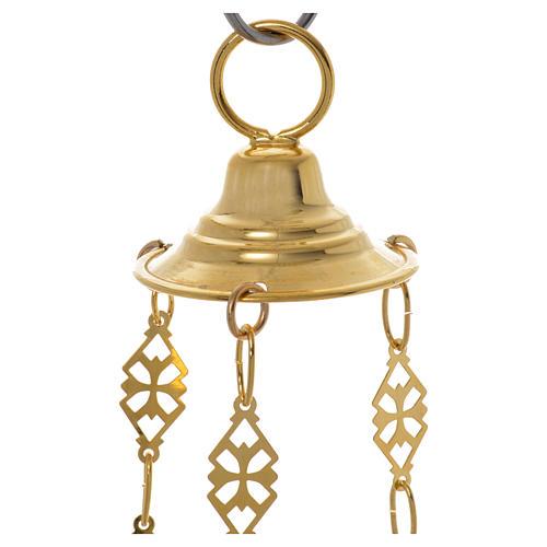 Lampada Santissimo Ortodossa ottone dorato cm 14x12 5