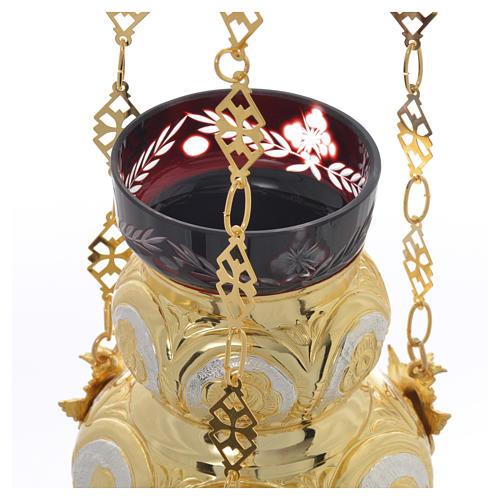 Lampada Santissimo Ortodossa ottone dorato cm 14x12 6