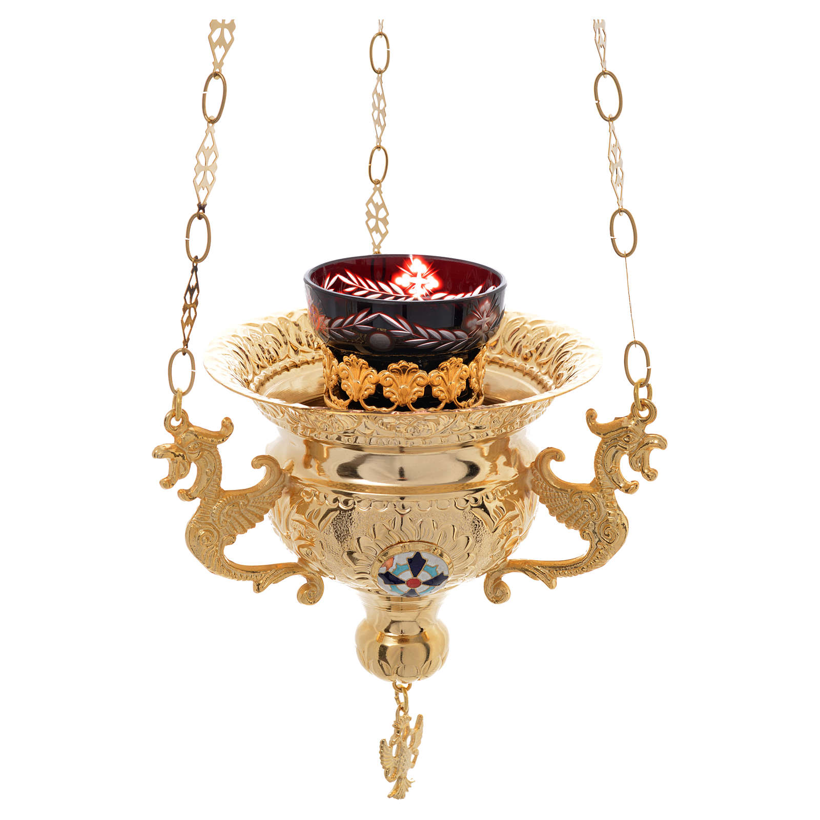 Lámpara para el Santísimo Sacramento Latón 15x15 cm Estilo Ortodoxo 3