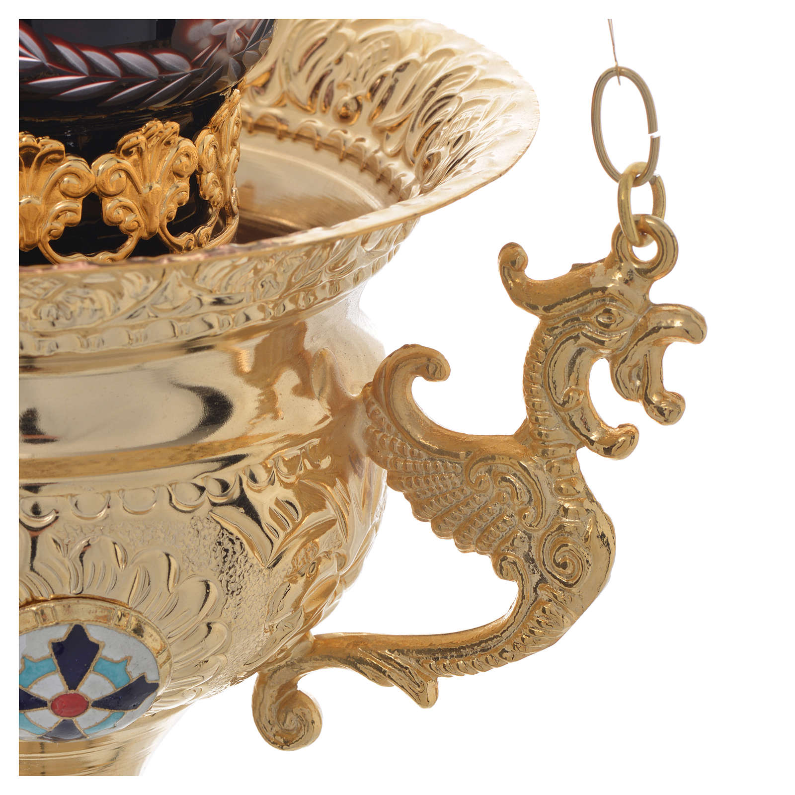 Lampada per Santissimo Ortodossa in ottone cm 15x15 3