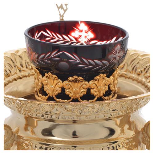 Lampada per Santissimo Ortodossa in ottone cm 15x15 2