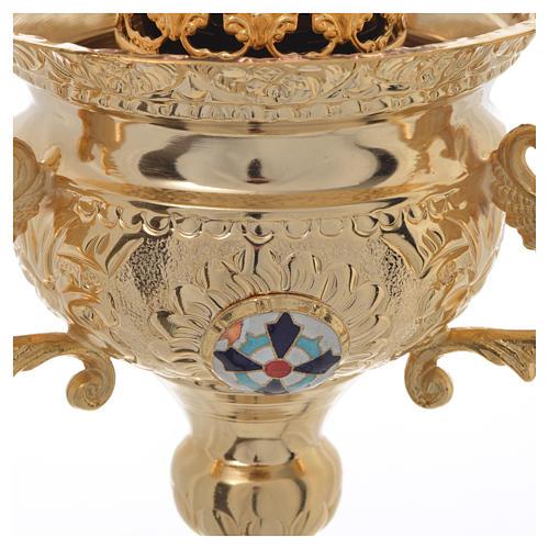 Lampada per Santissimo Ortodossa in ottone cm 15x15 4