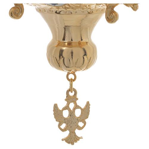 Lampada per Santissimo Ortodossa in ottone cm 15x15 5