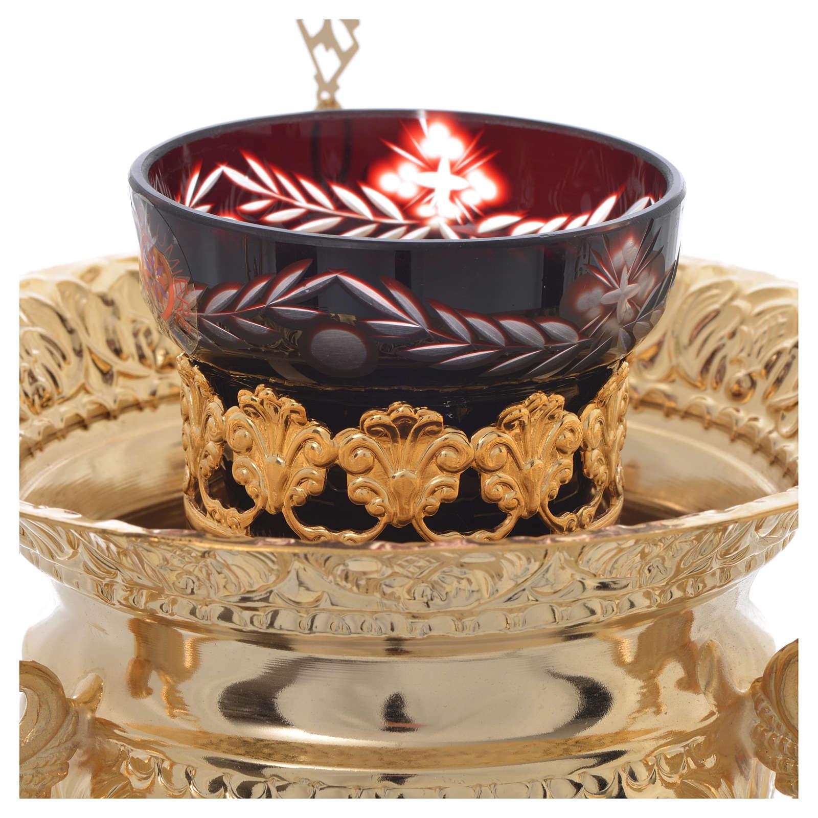 Lamparina Santíssimo ortodoxa em latão 15x15 cm 3