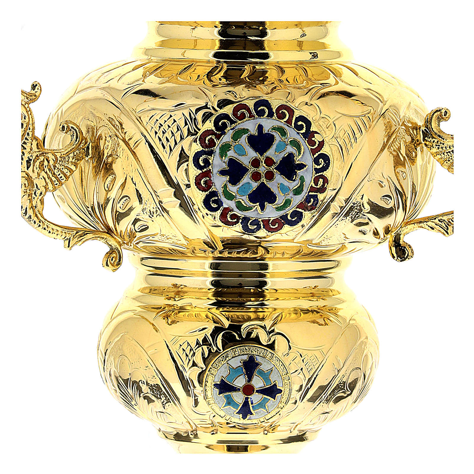 Blessed Sacrament Orthodox lamp in golden brass 26x17cm 3