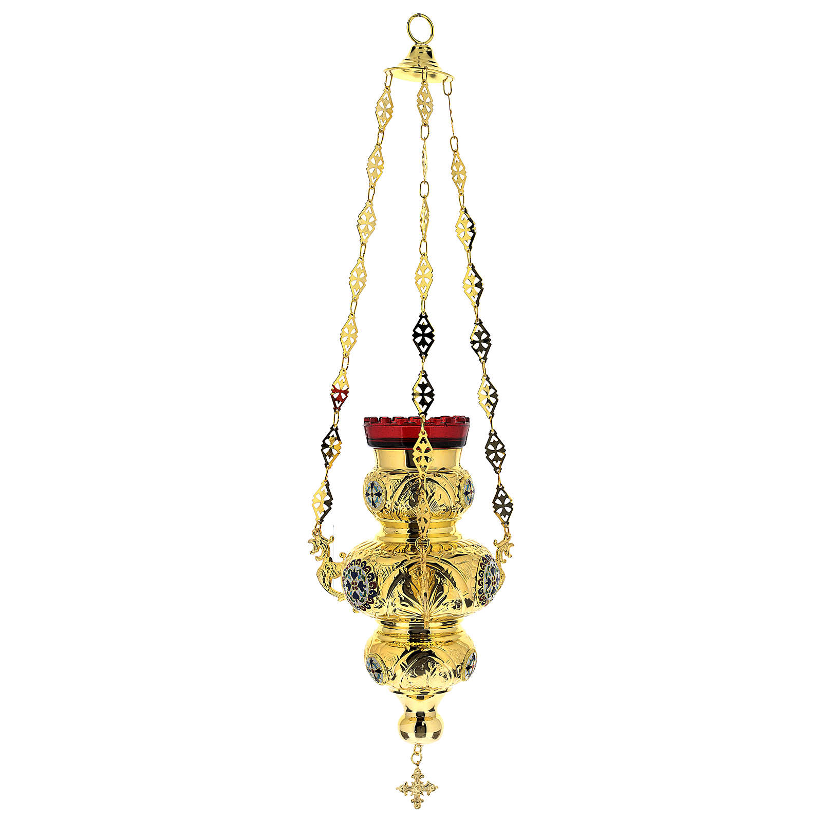 Blessed Sacrament Orthodox lamp in golden brass 26x17cm 3