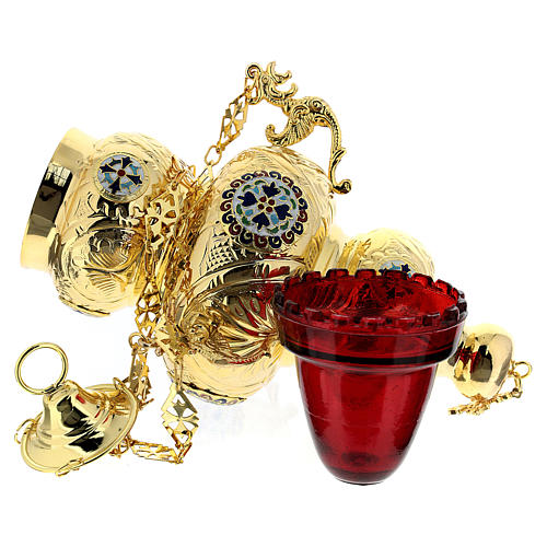 Blessed Sacrament Orthodox lamp in golden brass 26x17cm 5