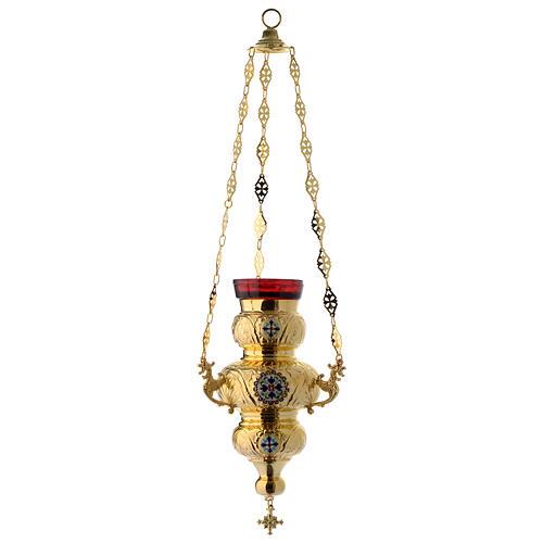 Lámpara Ortodoxa latón dorado cm 26x17 2