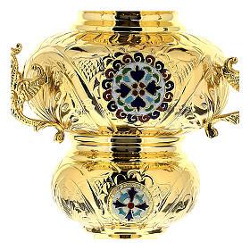 Wieczna lampka prawosławna pozłacany mosiądz cm 26x17 s2