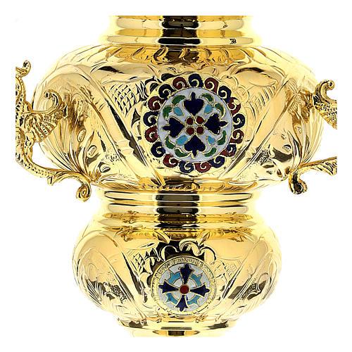 Wieczna lampka prawosławna pozłacany mosiądz cm 26x17 2