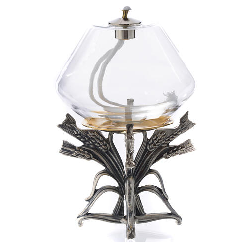 Lamp for liquid wax on pewter base 4