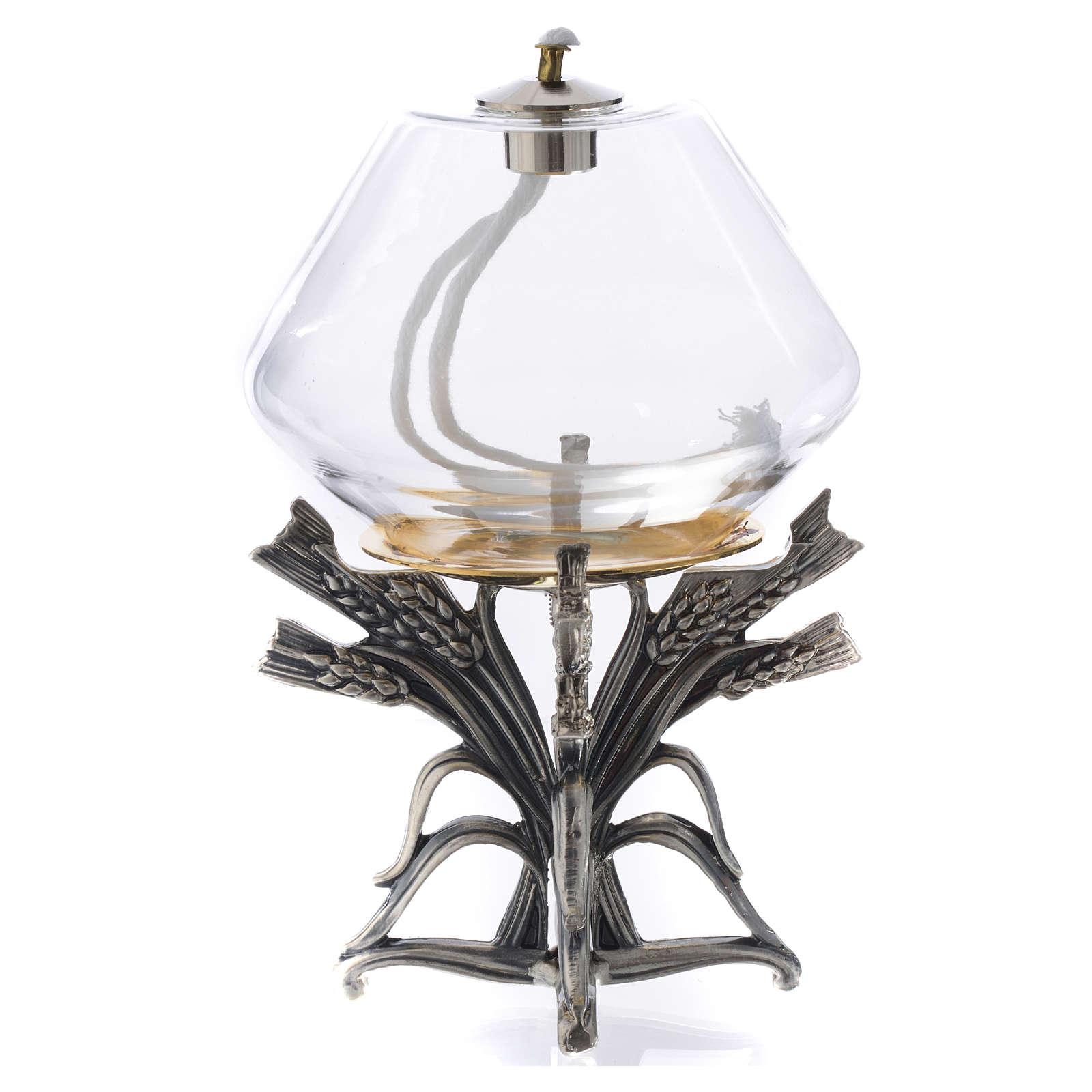 Lamp for liquid wax on pewter base 3