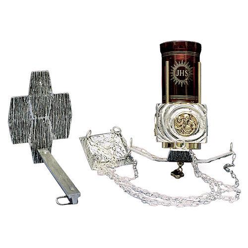 Lámpara en suspensión Santísimo latón fundido San Cristóbal 1