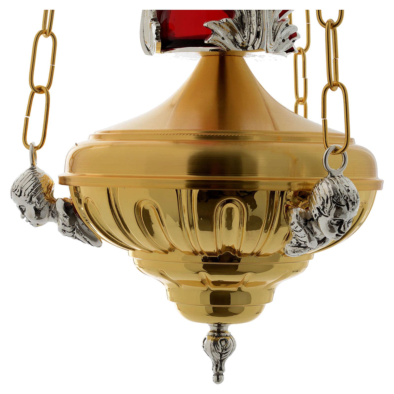 Lámpara en suspensión Santísimo 20 cm latón ángeles 3