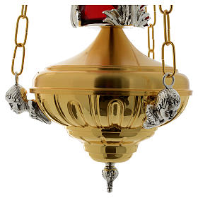 Lámpara en suspensión Santísimo 20 cm latón ángeles s5