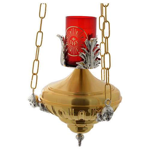 Lampada a sospensione Santissimo 20 cm ottone angeli 4